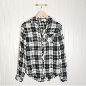 Willi smith black white flannel long sleeve shirt